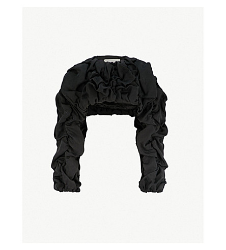 AGANOVICH Ruffled satin cropped jacket (Black