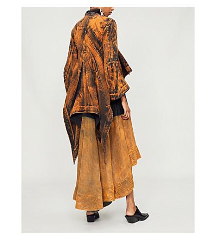 AGANOVICH Acid wash-print waterfall-hem cotton jacket (Black