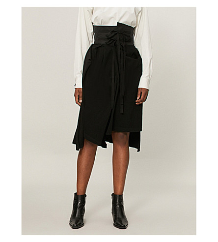 AGANOVICH Decontructed cotton-jersey skirt (Black