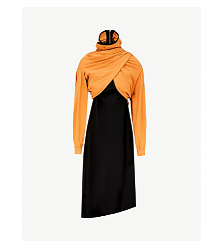 AGANOVICH Twisted-front cotton dress (Ocre
