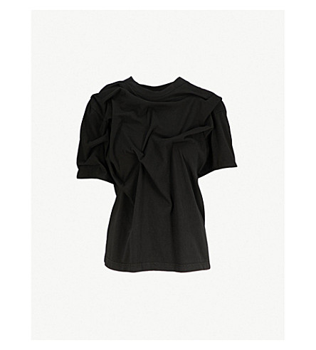 AGANOVICH Pleated cotton-jersey T-shirt (Black
