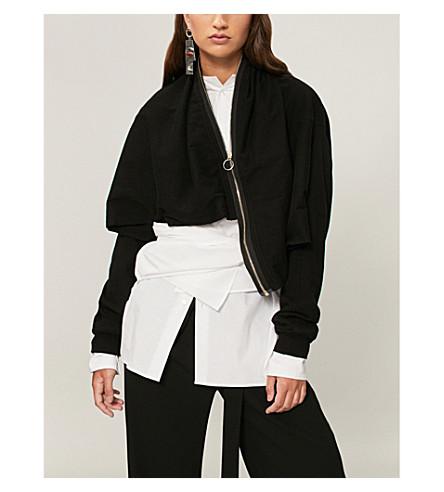AGANOVICH解构平纹针织棉卫衣 (黑色