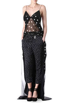 HAIDER ACKERMANN Leather-trimmed polka-dot top
