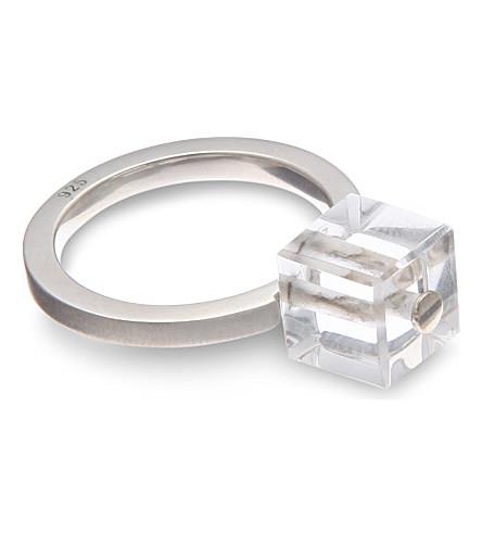 ANN DEMEULEMEESTER Quartz cube ring (Silver