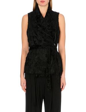 ANN DEMEULEMEESTER Sleeveless belted waist faux-fur coat