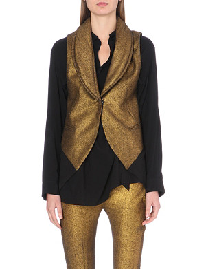 ANN DEMEULEMEESTER Metallic sleeveless wool-blend coat