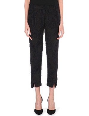 ANN DEMEULEMEESTER Embroidered paisley organza trousers