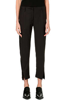 ANN DEMEULEMEESTER Cropped wool and linen-blend trousers