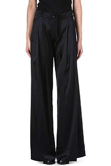 ANN DEMEULEMEESTER Wide-leg silk-blend trousers