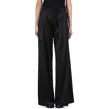 ANN DEMEULEMEESTER Wide-leg silk-blend trousers (Black