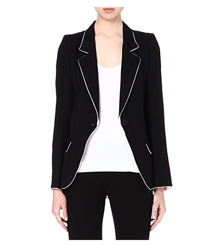 ANN DEMEULEMEESTER Contrast crepe blazer (Black/rosy