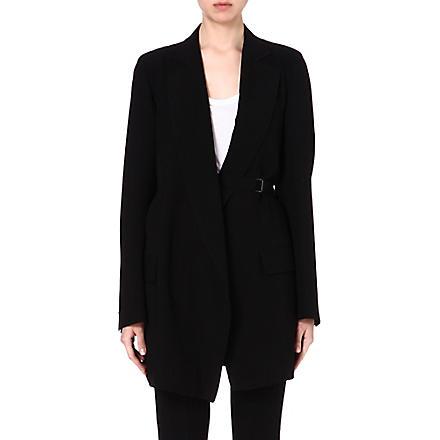 ANN DEMEULEMEESTER Long crepe blazer (Black