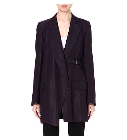 ANN DEMEULEMEESTER Belted long blazer (Prune