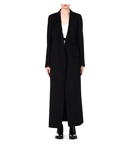 ANN DEMEULEMEESTER Long belted blazer (Black