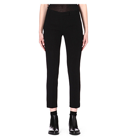 ANN DEMEULEMEESTER Slim-fit leather trousers (Black