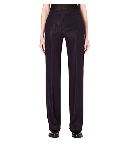 ANN DEMEULEMEESTER Loose-fit crepe trousers (Prune