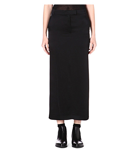 ANN DEMEULEMEESTER Long satin skirt (Black