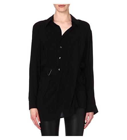ANN DEMEULEMEESTER Asymmetric crepe shirt (Black