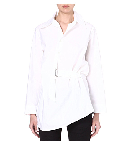 ANN DEMEULEMEESTER Asymmetric cotton shirt (White