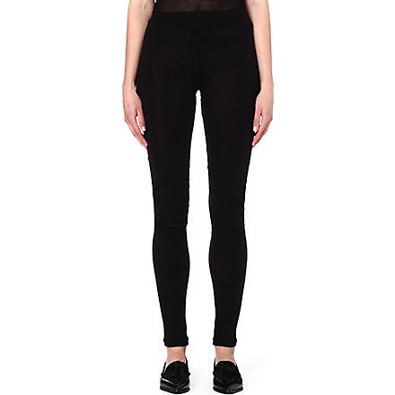 ANN DEMEULEMEESTER Semi-sheer skinny trousers (Black