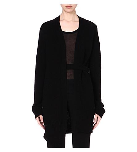 ANN DEMEULEMEESTER Knitted waist belt cardigan (Black