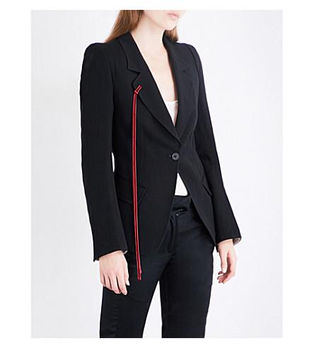 ANN DEMEULEMEESTER Single-breasted wool-blend blazer (Black