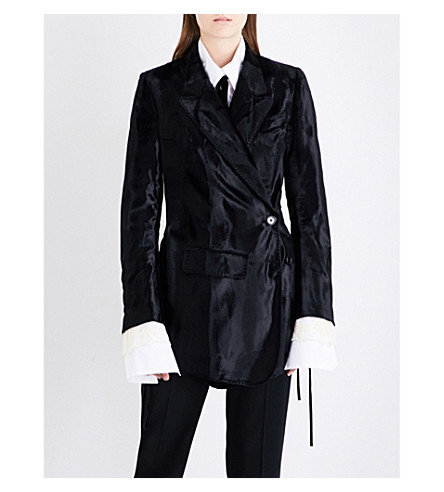 ANN DEMEULEMEESTER Double-breasted crushed-velvet jacket (Black