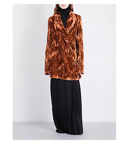ANN DEMEULEMEESTER Caban Vixen crushed velvet jacket (Orange/blossom