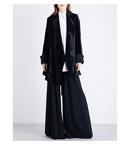 ANN DEMEULEMEESTER Wrap-over velvet coat (Black