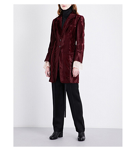 ANN DEMEULEMEESTER Fairbanks faux-fur coat (Wine/blossom