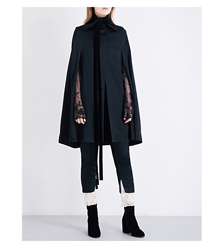 ANN DEMEULEMEESTER Neck-tie satin cape (Black