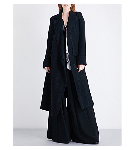 ANN DEMEULEMEESTER Wrap-over wool-blend coat (Black/silver