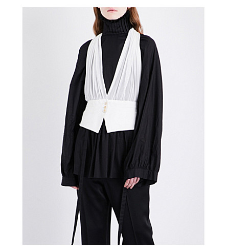 ANN DEMEULEMEESTER Ohara silk waistcoat (Off+white