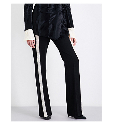 ANN DEMEULEMEESTER Mustang wide-leg wool-blend trousers (Black/robbon/ecru