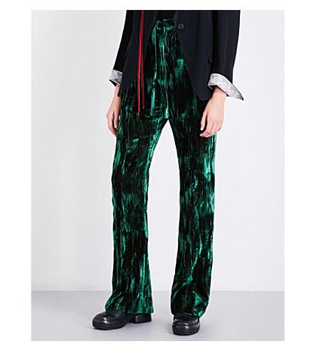 ANN DEMEULEMEESTER Wide-leg crushed-velvet trousers (Emerald