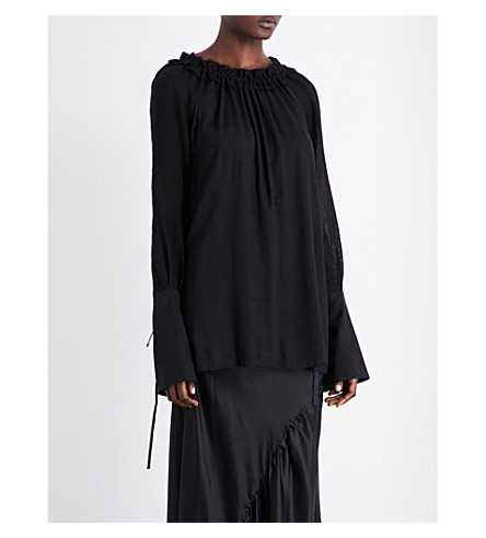 ANN DEMEULEMEESTER Drawstring-collar woven top (Black