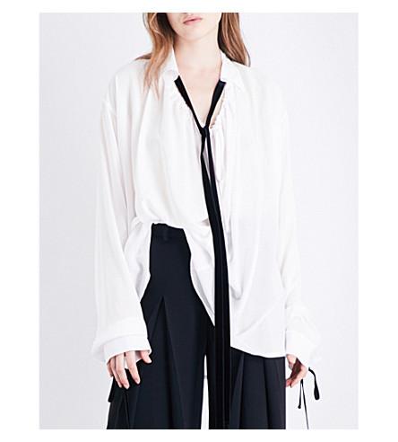 ANN DEMEULEMEESTER Neck-tie oversized poplin shirt (Rosy