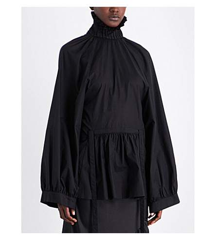 ANN DEMEULEMEESTER Elizabethan-collar cotton top (Black