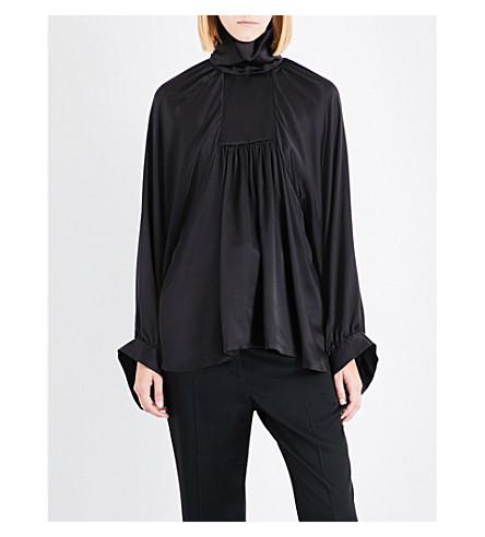 ANN DEMEULEMEESTER Nanette ruched silk-satin top (Marrone