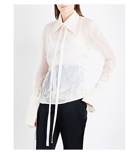 ANN DEMEULEMEESTER Wrap floral-embroidered tulle shirt (Ecru