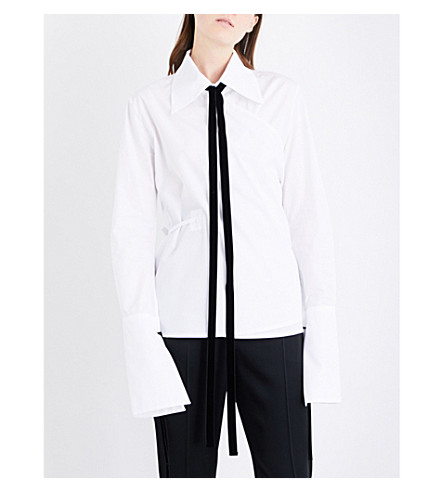 ANN DEMEULEMEESTER Wrap cotton-poplin shirt (White