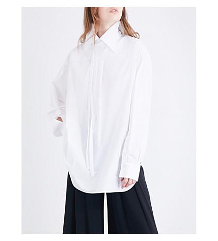 ANN DEMEULEMEESTER Reverse-collar cotton-poplin shirt (White