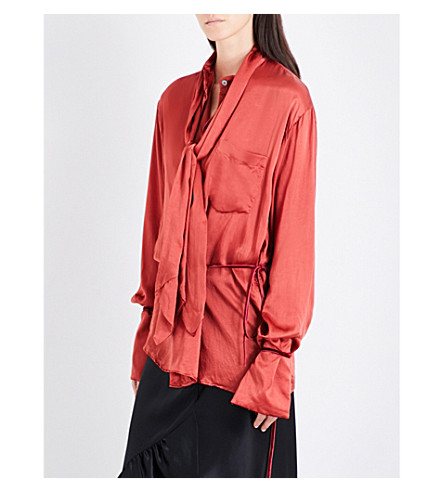 ANN DEMEULEMEESTER Neck tie silk-satin shirt (Rose