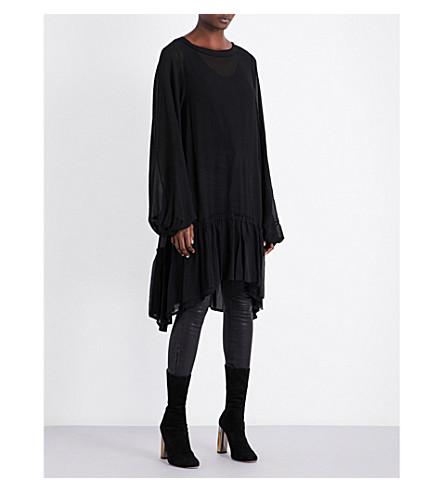ANN DEMEULEMEESTER Pleated-hem oversized woven dress (Black