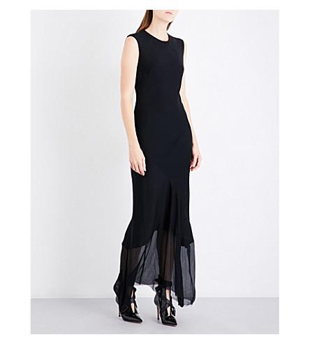 ANN DEMEULEMEESTER Asymmetric crepe gown (Black