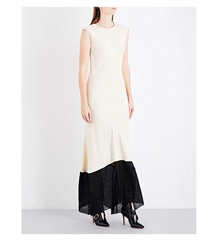ANN DEMEULEMEESTER Asymmetric crepe gown (Butter/black