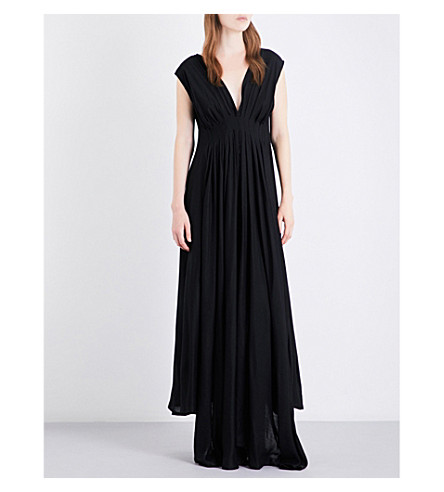 ANN DEMEULEMEESTER Pleated asymmetric-hem twill gown (Black
