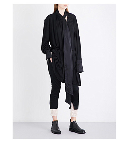 ANN DEMEULEMEESTER Neck-tie cotton-blend tunic dress (Black