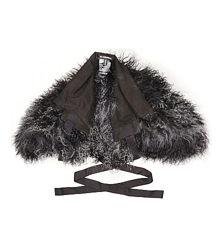 ANN DEMEULEMEESTER Shearling cotton scarf (Black/anthracite
