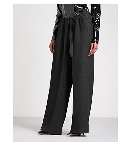 ANN DEMEULEMEESTER Paper bag-waist wide high-rise crepe trousers (Black